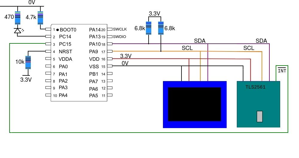 stm32l031_ssd1306_tls2561_circuit